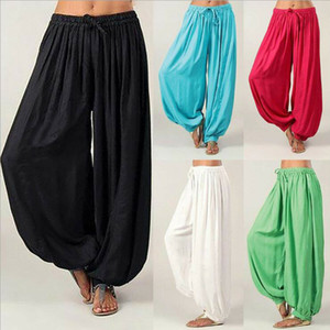 Mulheres Harem Calças Yoga calças longas Baggy Leggings Plus Size