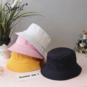 Sparsil Unisex dobrável Algodão Bucket Hat Sólidos Pesca protetor solar ao ar livre Caça Cap Mulheres Homens Bacia Chapeau Pescador Chapéus
