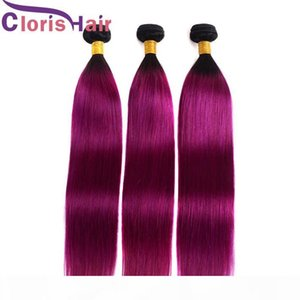 Seda suave Ombre Hair Extensiones dos tonos 1b de la armadura del pelo brasileño recto púrpura Humano Máquina doble Ombre Remi trama 3 Paquetes