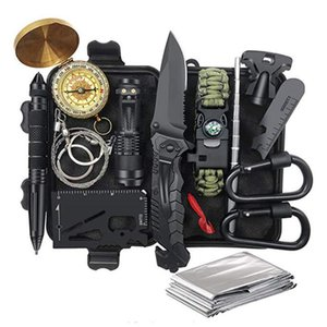 Survival Kit 14 in 1 Fishing Hunting Gifts for Him Cool Gadget Christmas Stocking Stuffer Survival Gear Emergency Camping Hiking