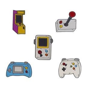 Oyun makinesi Koleksiyonu Broş Oyun severler Çocuk Çocukluk Oyun konsolu Yumuşak Emaye iğneler Rozet Moda Karikatür Simge Yaka Pinzdl0319.