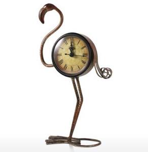 Tooarts flamenco Hierro forjado reloj retro decoración escritorios Reloj de mesa hecha a mano de metal Vintage Decoración Figurita Silencio