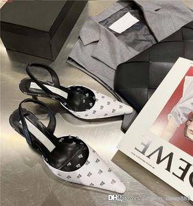 Para mujer clásica de primavera y verano las sandalias puntiagudas monograma con cuero mediados de talón de la sandalia del talón de altura 6 cm, con el empaquetado original