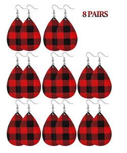Boucles d'oreilles Plaid de Noël Faux cuir Dangle Boucles d'oreilles Boucles d'oreilles longues Déclaration Plaid pour les filles des femmes