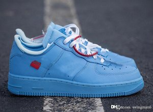 Top Original Off Authentic Air Force1 1 Universidade Low MCA Blue Chicago Branco Running Shoes CI1173-400 Homem Mulher Sports Sneakers Com Box