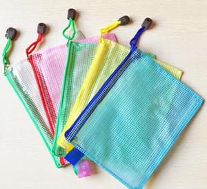 شبكة سحاب حقيبة المحفوظات متعدد الألوان مجلدات للماء بلاستيكية ملف الجيب طالب القرطاسية الإيداع الإمدادات SN2811