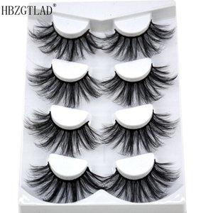 NEW 4 pairs 3D Mink Lashes 25mm Natural False Eyelashes Dramatic Volume Fake Lashes Makeup Eyelash Extension Silk Eyelashes MDR-01