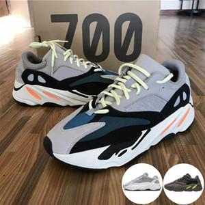 2019 Com Caixa Kanye West Wave Runner Aumenta 700 V2 Inércia Estática Malva Cinzento Sólido Run Sapatos Casuais Sapatos Masculinos Sapatos Femininos Tênis Masculinos K-583