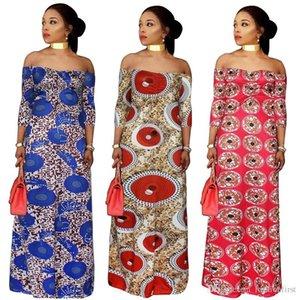 뚱뚱한 여성 유럽 스타일의 바닥 길이 인쇄 드레스에 어깨 드레스 2018 가을 신상품 플러스 사이즈 5XL 드레스 오프 고품질 아프리카 인쇄
