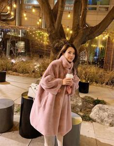 Günlük Lüks Uzun Palto Kış Faux Kürk Bayan Palto Tasarımcı Katı Pembe Renkli Moda Sıcak Giysiler