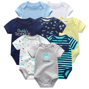 2020 8PCS Lot Rompers Girls Baby Clothing Unicorn Cotton Boys Clothes Short Sleeve Baby Girl Clothes Roupas de Newborn