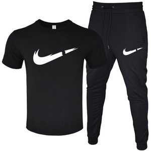 Homens Verão Treino T-shirt Designer + Pant Long 2 Pieces Define sólidos ternos Cor Outfit Fatos de alta qualidade