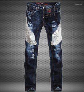 Patchwork Slim Straight Leg Jeans Mid taille Jeans Hommes Vêtements pour hommes Designer Jeans populaire Aigle Bleu