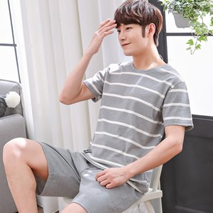 Cotton cartoon and pajamas shorts pajamas men's round collar short-sleeved shorts plus size striped men's home clothes suit