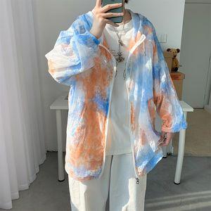 men's 2020 Windbreaker sunscreen clothes thin tie dyed jacket coat trench coat Harajuku wind sunscreen clothes fashion