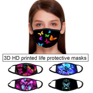 Teste padrão de borboleta máscara facial 3D impressão Designer com máscaras máscaras de algodão rosto reutilizável Out Door Esporte equitação Moda Máscara Designer