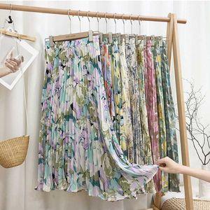 Retro Splashed Ink Printing Pleated Skirt Female 2020 Summer New Oil Painting Was Thin Medium-Length Knee High Waist Skirt