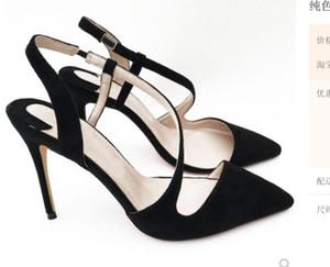 19 neue Typ S Gürtel Sandalen schwarz Wildleder Damen High Heel Schuhe 10cm Größe 44 Cusp Fine Heel Braut Hochzeit Nachtclub Red Bottom Schuhe