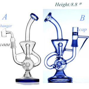 8,8-Zoll-Doppel Recycler Bong Phonix Glas Bong Vapor Recycler Bohrinsel Glas Wasserrohr Pulse Bio Dab Hookahs In STOCK