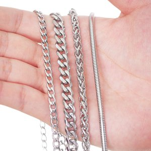1mm to 5mm Real Stainles Steel Mens Chains Necklace silver color Filled Rope  box  snake  Curb Link 18inch 20inch 22inch 24inch