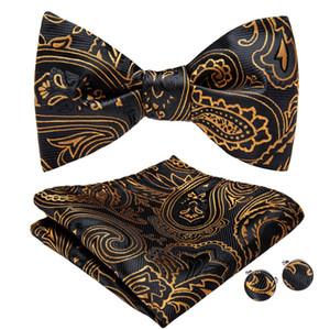 DiBanGu soie Mens Tie Auto Bow Tie réglable Paisley Bowtie auto-attaché cravate pour les hommes Noeud papillon de soirée de mariage de costume LH-074