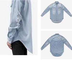 Mens Camisas de Manga Longa Rasgado Streetwear Camisas Soltas Denim Hommes Bolso Botão Projeto Hip Hop Camisas Outerwear Mens Roupas