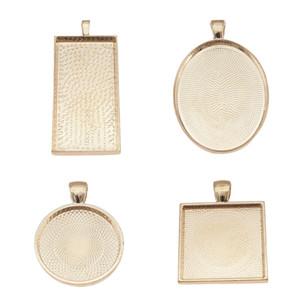 10 pz Mix Designs Rose Style Collana Pendente Impostazione Cabochon Cammeo Base Tray Bezel Cabochon vuoto Fit Accessori gioielli fai da te