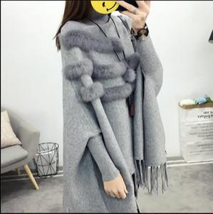 Bahar Ve Kış Kadınlar Yüksek Yaka Gerçek Kürk Cloak Kazak Lady Bat Kollu Püskül Panço Triko Triko E953 Pull