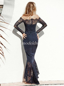 Dark Navy Mermaid High Low Bridesmaid Dresses 2019 Off Shoulder Long Sleeve Lace Garden Country Arabic Plus Size Wedding Guest Gowns 01