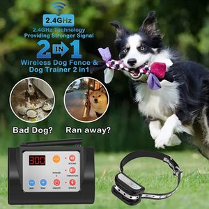 .Electric Wireless dog Fence w Remote for 2 in 1, Adjustable Range Control, Waterproof Reflective Stripe Collar,Harmless for All dogs