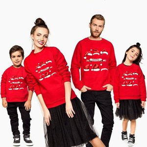Christmas Hoody Family Matching Sweatshirt Outfits Fashion Xmas Santa hat Cap Hoodies Kids Mom Dad Cotton Warm Pullover Red Tops