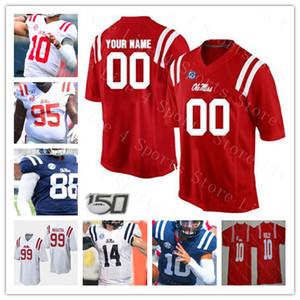 NCAA Ole Miss İsyancılar Kolej Futbolu 10 Eli Manning Kelly Ta'amu Taamu AJ Brown Scottie Phillips Dikişli Formalar Kırmızı Mavi Beyaz Custom