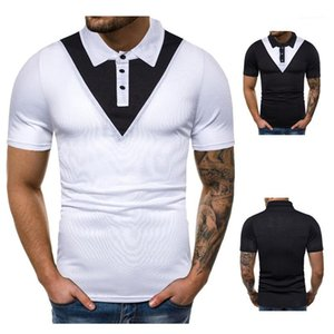 Luva de Slim lapela pescoço curto Polo Casual Mens Verão Tops cores dos retalhos Mens Designer Polo Moda
