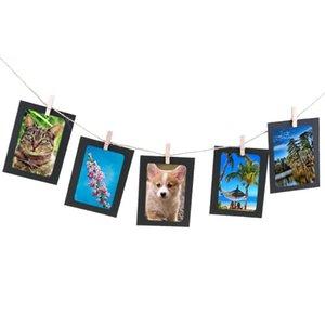 10PCS 종이 사진 프레임 조합 벽 사진 프레임 클립 로프 DIY 행잉 사진 홈 장식 블랙