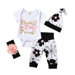 Pudcoco Marca New 4pcs recém-nascido Floral Bebés Meninas Tops Bodysuit calças compridas Chapéu Outfits roupas Set