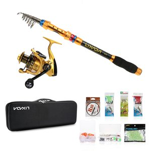 2.1 2.4 2.7 3m Telescopic Fishing Rod Reel Combo Full Kits Spinning Reel Pole Set With Line Lures in Bag Fishing Tool