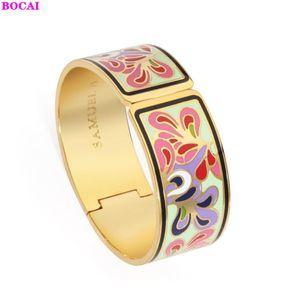 BOCAI fashion jewelry Cloisonne women's Enamel Bracelet 2020 new flowers pattern jewelry Cloisonne Enamel Bracelet for women