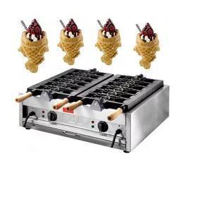 Commercial use110v 220v Elektrikli 6 adet Dondurma Taiyaki makinesi Balık waffle makinesi Büyük boy balık için