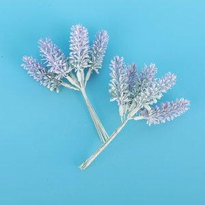 6pcs Mini Lavender Flowers Artificial Plastic Flowers High Quality Handmade For Diy Scrapbook Home Wedding Christmas Decoration