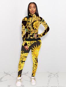 Nouveau femmes automne mode costume de sport imprimé mode casual deux pièces Ens Survêtements Sweat-shirt Survêtement panneau rayé La taille S-XXL