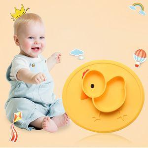 Baby Safe Silicone Dining Plates Cartoon Children Little yellow chicken Toddler Training Tableware Kids Feeding Food Bowls