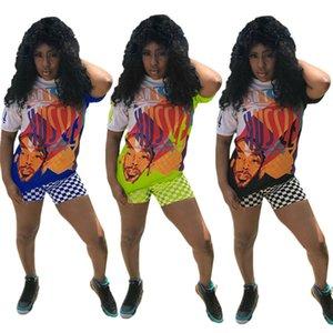 Nipsey koşuşturmasından Baskı Dama tahtası şort + Mozaik Şort Hip Hop Sokak Suit Fanlar Streetwear S-3XL C7803 Favor Graffiti Rapçi tişörtleri ayarlar