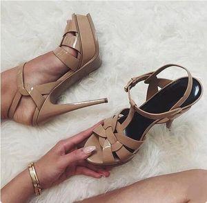 Color caramelo negro desnudo charol Cruz Strappy sandalia plataforma T-Bar zapatos tacones altos señoras vestido zapatos novia