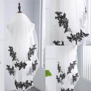 جديد وصول طبقتين الإصبع الزفاف الحجاب أسود زين حافة رخيصة تول الحجاب الزفاف لعروس الحجاب مع مشط