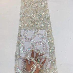 Africano lentejuelas Dres FZ330 cordón de la tela de alta calidad de francés blanco bordado de tul neto telas del cordón para el partido de Nigeria