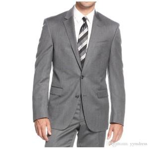 Gri Goorm Smokin 2019 İki Düğme Çentikli Yaka Erkek smokin damat düğün Dar Kesim tasarımcı bahar Üç Adet mens (Ceket + pantolon + Kravat))