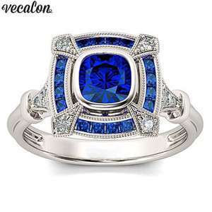Vecalon Vintage Hollow ring 925 silver Blue Crystal Cz Engagement wedding band ring For women Bridal finger Jewelry