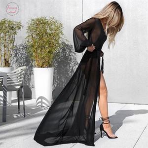 Yeni Moda Bayan Bayanlar Seksi Şeffaf Wrap Cover Up Yaz Hırka Plaj Stil Uzun Elbiseler A Hattı Mini Elbiseler Uzun Fener Kol