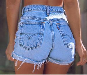 Mulheres cintura alta Jean Shorts Moda rasgado Fringe punhos Magro Tassel Shorts New Casual Mulheres Roupa
