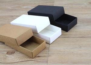 Kapak Hediye Karton Karton Kutu ile 2 Boyutları Ana Kraft Siyah Beyaz Hediye Paketleme Kutu Kraft Blank Karton Kağıt Hediye Kağıt Kutu